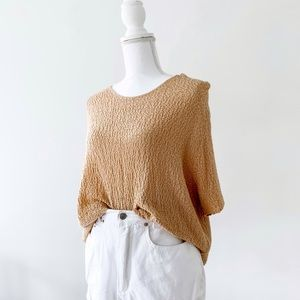 vintage lose knit short sleeve tan top